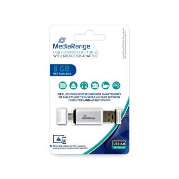 MediaRange MR930 OTG USB Stick 8GB USB mobile 2IN1 silver