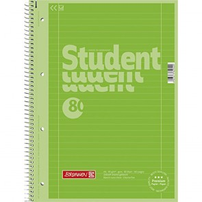 Brunnen 1067927126 Colour Code Student Notepad (A4 Ruled  line Style 27  90g/m²  80Pages) Kiwi grün