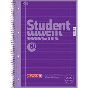 Brunnen 1067927126 Colour Code Student Notepad (A4 Ruled  line Style 27  90g/m²  80Pages) Purple