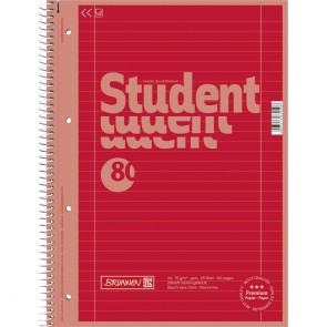 Brunnen 1067927126 Colour Code Student Notepad (A4 Ruled  line Style 27  90g/m²  80Pages) red