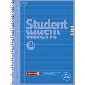 Brunnen 1067927126 Colour Code Student Notepad (A4 Ruled  line Style 27  90g/m²  80Pages) Azure Blue