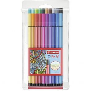 Premium Felt Tip Pen - STABILO Pen 68 wallet of 20 assorted colours