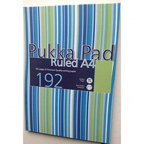 Pukka Pads A4 Ruled Feint Stripe Designed Case Bound Book - Assorted (192 Pages)